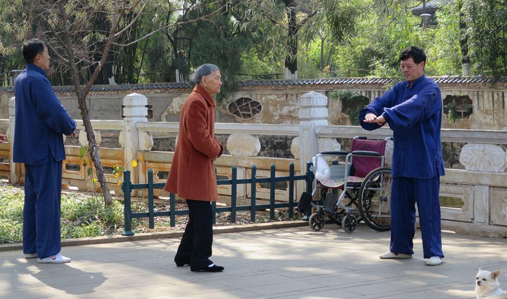Cina, un momento di pratica di tonificazione con l'esercizio del Ba Duan Jin (Otto pezzi di Broccato). Foto: Andrea Pozzi